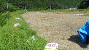 バーク肥料を撒き管理機で耕した後