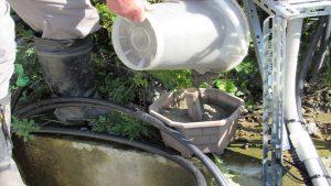 モルタルを流し込み竹部分を6~7時間後に抜く